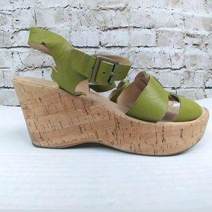 "Kork Ease ""Brie"" Lime Green Cork Wedge Sandals"